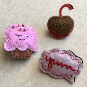 Jewelry - 🍒Brooch Set Cupcake Cherry Diner Felt Jewelry Pin